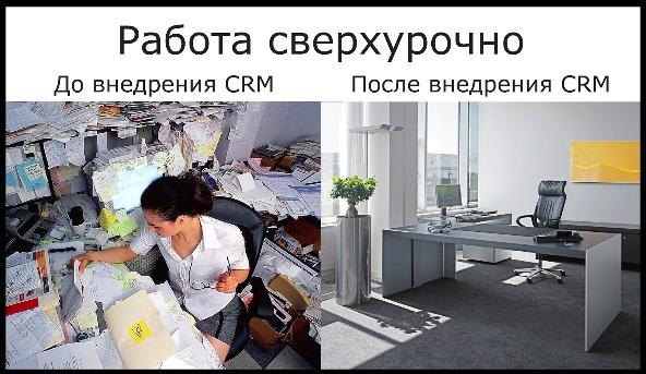 Сравнение внешнего вида офиса до и после внедрения CRM